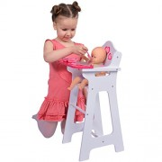 """Wooden Doll High Chair With Doll Bib Fits 18"""""""