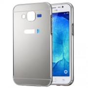 Fashionable Electroplating Push Pull Back Shell Cover + Metal Bumper Frame for Samsung Galaxy J2 / J200(Silver)
