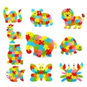 Magideal Set of Wooden Hippo Alphabet Puzzle Brain Teaser Toy Kids Alphabets Color Educational Gift Multicolor