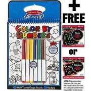 Blue: Color By Numbers Coloring Book + FREE Melissa & Doug Scratch Art Mini-Pad Bundle [53785]