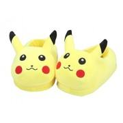 Katara - Pantofole e Ciabatte Morbidissime Calde Invernali Ppeluche Pokemon per Casa, Cosplay o Feste Halloween - Taglia Unica - Pikachu chiuse (Giallo)