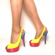 Sandali Donna Multicolor in Vernice Tacco Alto a Stiletto T: 40