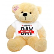 2 feet peach teddy bear wearing Happy Mothers Day T-shirt