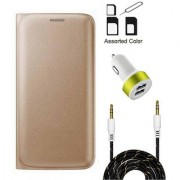 Lava A67 Flip cover (GOLD) With Noosy Sim Adapter + 2 Port USB Car Adapter + 3.5 Aux Audio Cable- 1 Meter(colour may vary)