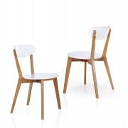 items-france CHICAGO - Chaise avec sige en similicuir blanc et structure en boi...