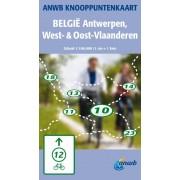 Fietskaart Knooppuntenkaart België: Antwerpen, West- & Oost-Vlaanderen | ANWB Media
