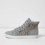 River Island Grey embellished hi top lace-up trainers