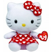 """TY Beanies - Hello Kitty 6"""" Red Dress With White Hearts - Hello Kitty [Toy]"""