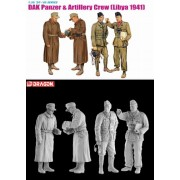 Dragon Models 1/35 DAK Panzer and Artillery Crew, Libya 1941 (4 Figurine Set) (Importato da Giappone)