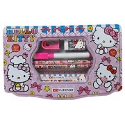 Wise Guys Cartoon Print Latest Trendy Steel Pencil Pouch Box with Stationery Set for Kids - Pink