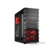 Carcasă Sharkoon VG4-W Red, cu fereastră, interior negru-roșu