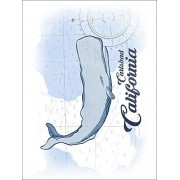 Carlsbad, California Whale Blue Coastal Icon (Playing Card Deck 52 Card Poker Size With Jokers)