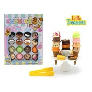 Little Treasures 22 Pcs Funny Game Cookies, Ice Cream, and Doughnuts for Ages 3 and Up - Stack Assorted Ice Creams and Toppings and see how tall you can go!