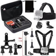 Luxebell 5 in 1 Accessories Kit for Gopro Hero 4 Session Black Silver Hero+ Lcd 3+ 3 2 Camera and Sjcam Sj4000 Sj5000 - Chest Mount Harness / Head Strap / Extendable Monopod
