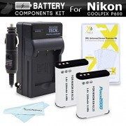 2 Pack Battery And Charger Kit For Nikon COOLPIX P900 P610 P600 B700 Digital Camera Includes 2 Extended Replacement (2200Mah) EN-EL23 Batteries + Ac/Dc Rapid Travel Charger + Screen Protectors