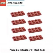 Lego Parts: Plate 2 X 4 (Pack Of 8 Dark Red)