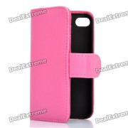 Protective Flip-open PU Case Cover with Card Slot for Iphone 4/4S - Deep Pink