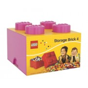Lego Storage Brick Lunch Box 4, Plastica, Rosa, 12.3x12.3x18.3 cm