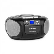 Auna Boom Boy Boom Box Ghetto Blaster FM și CD / MP3 player portabil ecran LCD casetofon rotund negru (CS15-BoomBoy BK)