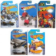 Hot Wheels 2016 HW Screen Time 5-Car Set Back to the Future Delorean Time Machine Hover Mode Cool One Super Mario Peanuts Snoopy Team Hot Wheels Grease Rod Treasure Hunt & Beatles Yellow Submarine