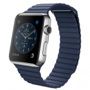 APPLE 42MM STAINLESS STEEL CASE WITH MIDNIGHT BLUE LEATHER LOOP - LARGE