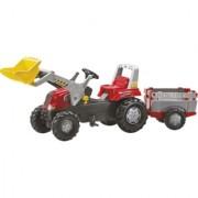 Traktor na pedale Junior RT sa prikolicom i kašikom crveni