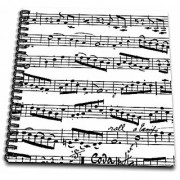 3dRose db_179702_1 Music Notes Pattern Black And White Piano Sheet Musical Notation Drawing Book 8 x 8