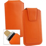 Emartbuy Sleek Range Orange Luxury PU Leather Slide in Pouch Case Cover Sleeve Holder ( Size LM2 ) With Luxury PUll Tab Mechanism Suitable For Lava A82