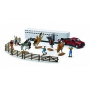 New Ray Toy Model 1:32 Diecast Fifth Wheel Western Rodeo Set - Horses Cowboys And Truck & Trailer - Assorted Colors