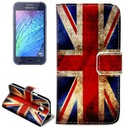 the Union Jack Pattern Horizontal Flip Leather Case with Holder & Card Slots & Wallet for Samsung Galaxy J2 / J200