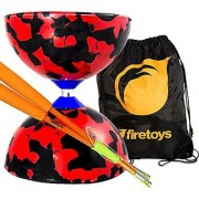Jester Medium Diabolo Red/Black with Orange Superglass Diablo Sticks String & Firetoys Bag