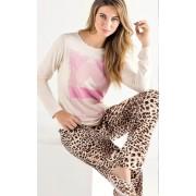 Pijama Feminino Mixte Adulto Manga longa com Calça Estampa Animal