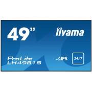 iiyama ProLite LH4981S-B1 49' Super Slim, 1920x1080, IPS panel, 6,5mm bezel width, DP, DVI, 2xHDMI, Video, USB Media, Speakers, 500 cd/m², 1300:1 Static Contrast, 8ms