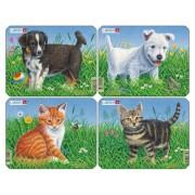 Set 4 Puzzle-uri Caini si Pisici, 6 piese Larsen