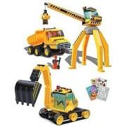 BRICTEK 14004 Construction Crane Truck 14007 Excavator 387 pcs Building Blocks (Compatible with Legos) + Coloring Acti