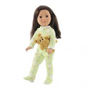 18 Inch Doll Soft Green Footed Heart Pajamas and Teddy Bear | Clothes Fit American Girl Dolls | Ones