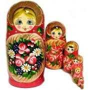 Russian Matreshka Matryoshka Matrushka Babushka Floral Nesting Doll 7 Nested Hand Carved Hand Painte