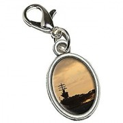 Graphics and More United States Navy Aircraft Carrier USS Nimitz Antiqued Bracelet Pendant Zipper Pull Oval Charm with Lobster Clasp