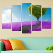 Декоративeн панел за стена със стилизирана импресия в лилаво и зелено Vivid Home