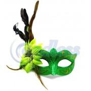 Masca venetiana verde cu pene