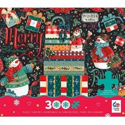Ceaco Holiday Chalk - Snowman Gifts - Oversized Holiday Puzzle (300 Piece) by Ceaco