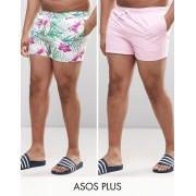 ASOS PLUS Swim Shorts 2 Pack In Pink And Floral Print In Short Length SAVE - Floral/pink (Sizes: XL)