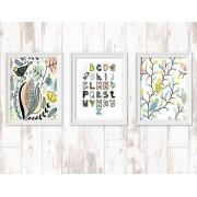 Kleurrijke kinderkamer posters met alfabet en vogels