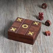 Store Indya, Brown Wooden Tic Tac Toe Caja de juegos con almacenamiento para madera Naughts and Crosses Viajes de vacaciones Juego de mesa para ninos Adultos