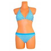 OEM BlueHEART Dámské plavky dvoudílné zdobené modrými srdíčky modré - M
