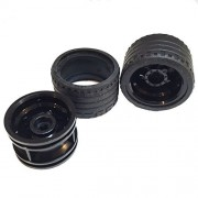 Lego Parts: Power Racer Wheels Tire and Rim Bundle (2) Black 37mm x 22mm ZR Tires (2) Black 30.4mm x 20mm Wheel Rims