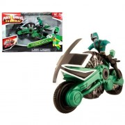 Bandai Year 2011 Power Rangers Samurai Series Action Figure Vehicle Set - FOREST DISC CYCLE with 4 Inch Tall Green Power Ranger Figure