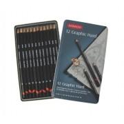 Derwent Graphic Hard 12 Crayons B-Hb-F-H-2h-3h-4h-5h-6h-8h-9h