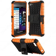 Heartly Flip Kick Stand Hard Dual Armor Hybrid Bumper Back Case Cover For Blackberry Z10 - Orange