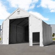 tendapro.it Tendone Everest 8x8 m con statica collaudata - ingresso 4x4,4 m, PVC ignifugo 720 g/m², grigio